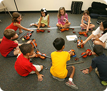 Students learn about the violin in Instrument Sampler